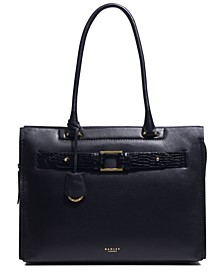 Agnes Street Large Leather Ziptop Workbag