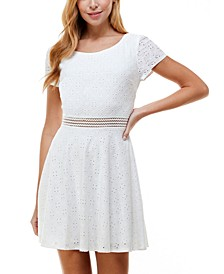 Juniors' Short Sleeve Eyelet Fit & Flare Dress