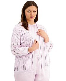 Plus Size Modern Lounge Eyelet-Knit Cardigan, Created for Macy's