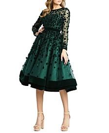Floral-Embellished Fit & Flare Midi Dress