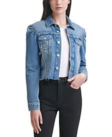 Cotton Puff-Sleeve Denim Jacket