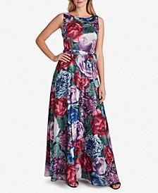 Floral-Print V-Back Gown