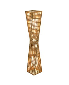 "Phuket 51"" 2-Light Unique Handcrafted Twist Rattan Floor Lamp"