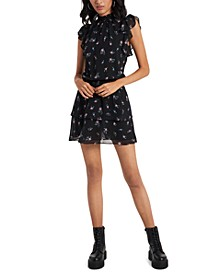 Smocked-Neck Calico-Printed Mini Dress