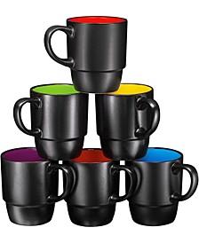 Large-Sized 18 oz Stacking Coffee Mug, Set of 6