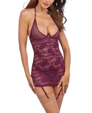 Women's Stretch Lace Garter Slip 2pc Lingerie Set