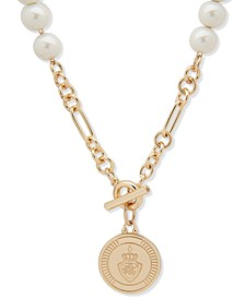 "Gold-Tone & Imitation Pearl Crest 16"" Pendant Necklace"