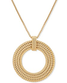 "Gold-Tone Rope Multi-Row Open Circle 36"" Pendant Necklace"