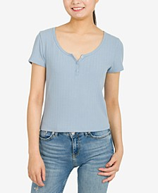 Juniors' Short-Sleeve Pointelle Henley Top