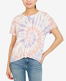 Juniors' Twist-Front Cotton T-Shirt