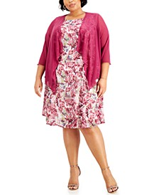 Plus Size Floral-Print Dress & Jacket