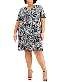 Plus Size Floral-Print Pleated Tiered Dress