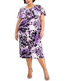 Plus Size Chiffon-Overlay Floral-Print Midi Dress