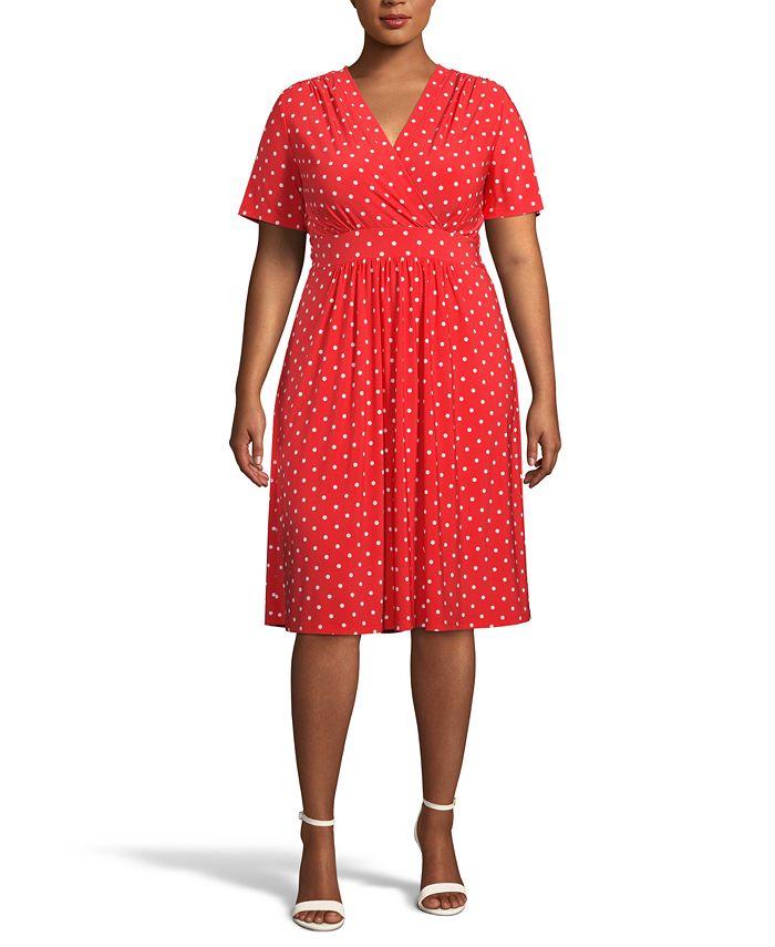 Anne Klein - Plus Size Bolero Dot-Print Dress