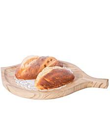 Burned Wood Pizza Peel Leaf Shape Round Serving Display Tray