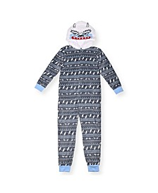 Big Boys Fleece Yeti Print Onesie
