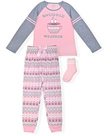 Big Girls Fairisle Print 2 Piece Pajama Set with Cozy Socks