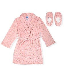 Big Girls Flannel Fleece Robe with Printed Gold-tone Foil Hearts with Matching Slippers