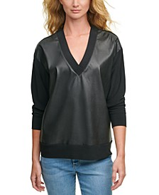 Faux-Leather-Front Sweatshirt
