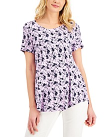 Petite Printed Short-Sleeve Shirt, Created for Macy's