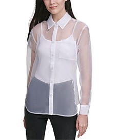 Organza Button-Front Shirt