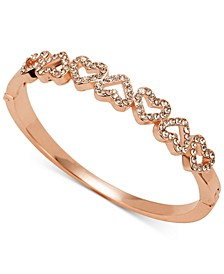 Rose Gold-Tone Pavé Open Heart Bangle Bracelet, Created for Macy's