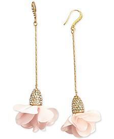INC Fabric-Flower Drop Earrings, Created for Macy's