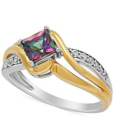 Mystic Fire Topaz (7/8 ct. t.w.) & Lab-Created White Sapphire (1/6 ct. t.w.) Ring in Sterling Silver & 14k Gold-Plate