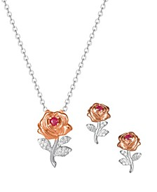 Princess Rose Ruby and Diamond Accent Pendant and Earring Set in Sterling Silver with 18K Rose Gold Plated Accents