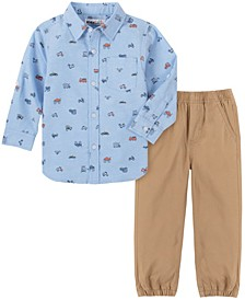 Toddler Boys 2-Piece Oxford Trucks Print Woven Shirt with Twill Pant Set