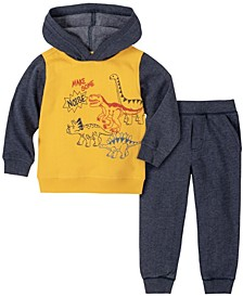 Toddler Boys 2-Piece Boys Dinos Fleece Hoody with Fleece Pant Set
