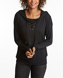 Women's Laceup Hoodie with Built in Mask