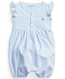 Ralph Lauren Baby Girls Striped Oxford Bubble Shortall