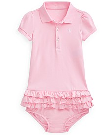 Ralph Lauren Baby Girls Ruffled Polo Dress Bloomer