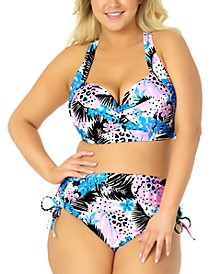 California Waves Trendy Plus Size Floral Underwire Bikini Top & High-Waist Bottoms, Created for Macy's