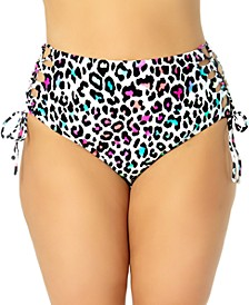 California Waves Trendy Plus Size Side-Tie Leopard-Print Bikini Bottoms, Created for Macy's