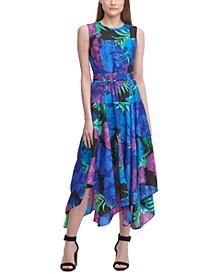 Printed Tiered Handkerchief-Hem Dress