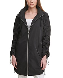 Ruched Hooded Utility Jacket