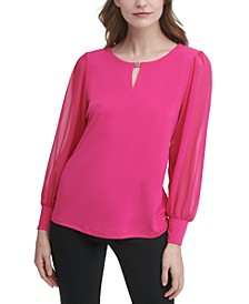 Hardware Sheer-Sleeve Top