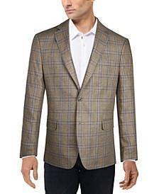 Men's Slim-Fit Linen Plaid Blazer