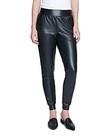 Women's Faux Leather Ponte Jogger