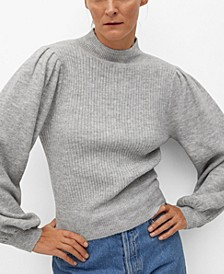 Women's Puffed Sleeves Ribbed Sweater