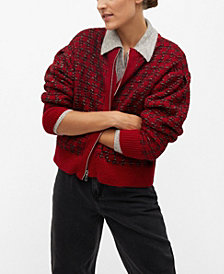 MANGO Women's Textured Knit Cardigan