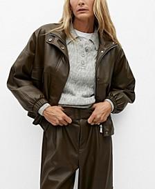 Women's Oversize Faux-Leather Biker Jacket