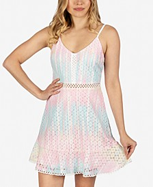 Juniors' Tie-Dyed Lace Dress