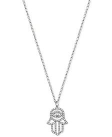 "EFFY® Diamond Hamsa Hand 18"" Pendant Necklace (1/5 ct. t.w.) in 14k White Gold"