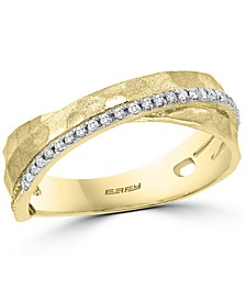 EFFY® Diamond Hammered Crossover Ring (1/6 ct. t.w.) in 14k Gold