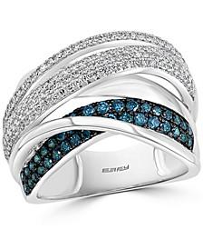 EFFY® Blue & White Diamond Multirow Statement Ring (3/4 ct. t.w.) in 14k White Gold