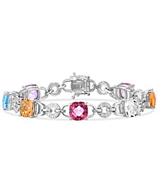 Multi-Gemstone (15-3/4 ct. t.w.) & Diamond (1/20 ct. t.w.) Link Bracelet in Sterling Silver