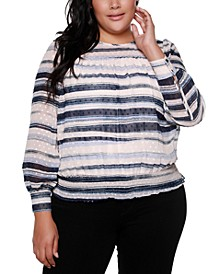 Black Label Plus Size Smocked Hem Long Sleeve Top